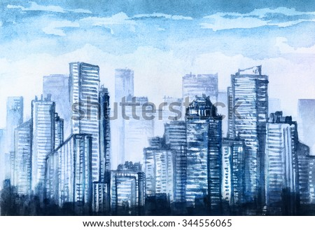 City downtown watercolor drawing. - stock photo