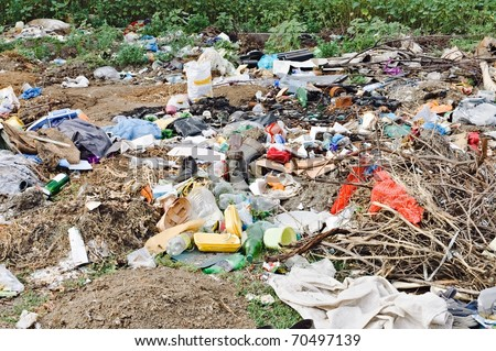 City dump: the demonstration of environmental problems - stock photo