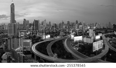 City elevated highway in BKK  thailand black and white tone. - stock photo