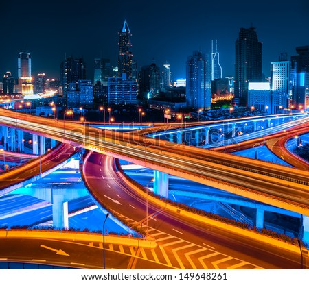 city elevated road at night in shanghai,China - stock photo