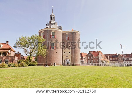 City entrance of Enkhuizen from the sixteenth century. Drommedaris. - stock photo