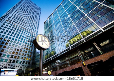 City finance Building with clock - stock photo