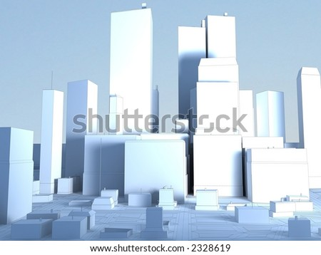 City Frontal View - stock photo