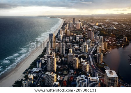 City Gold Coast, Queensland, Australia. The city is well-known as luxury resort in Australia