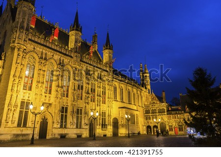 City Hall and Basilica of the Holy Blood on Burg Square in Bruges, Belgium