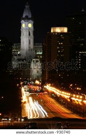 City Hall at Night, Philadelphia, Pennsylvania, U.S.A. - stock photo