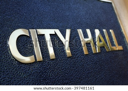 City Hall building sign close up - stock photo