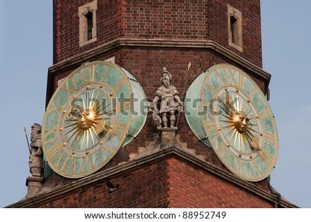 City hall clock, Wroclaw, Poland. - stock photo