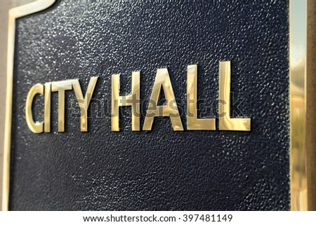 City Hall entrance sign close up - stock photo