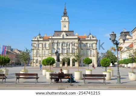 City Hall in main square of Novi Sad, Serbia - stock photo