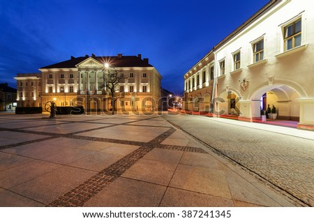 City Hall in main square Rynek of Kielce, Poland Europe, after sunset.