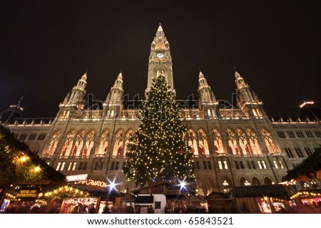 City hall in Vienna by night, christmas - stock photo