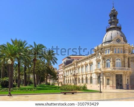 City hall of Cartagena, in the region of Murcia, Spain. - stock photo