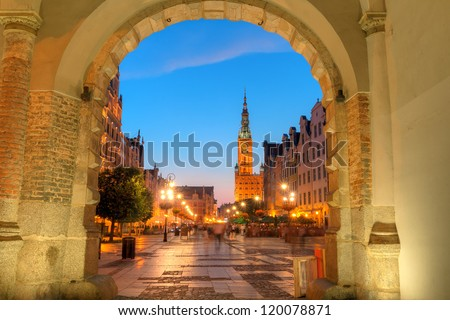 City hall of Gdansk at night, Poland - stock photo