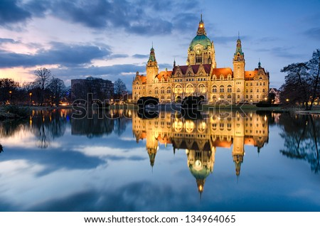 City Hall of Hannover, Germany by night - stock photo