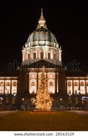 City Hall of San Francisco, California, opened in 1915, in its open space area in the city's Civic Center - stock photo