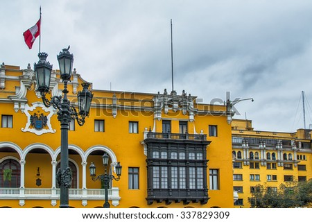 City Hall on Plaza-de-Armas in Lima, Peru. - stock photo