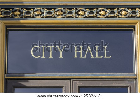 City Hall sign in San Francisco, California. - stock photo