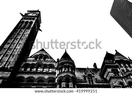 City hall Toronto downtown in black and white - stock photo