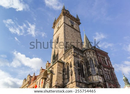 City Hall Tower with famous clock at the Old Town Square in Prague, Czech Republic - stock photo