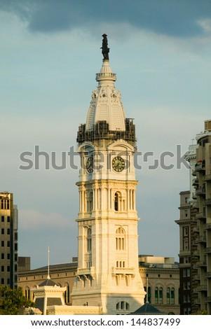 City Hall with Statue of William Penn on top, Philadelphia, Pennsylvania - stock photo
