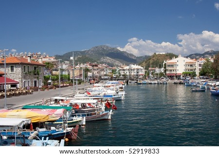City harbor in marmaris with boats