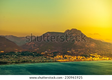 city harbor of Alanya at dawn, Antalya, Turkey