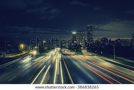 City Highway at night. Long exposure - stock photo