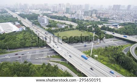 city highway interchange bridge road - stock photo