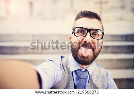 City hipster businessman - stock photo