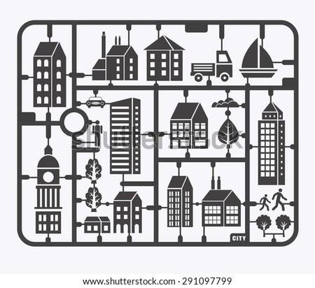 City illustration in a flat style of the buildings, houses, skyscrapers. For decoration and creativity in urban and industrial design theme. - stock photo