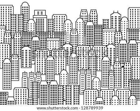 City illustration - skyscrapers and modern buildings. Contemporary metropolis and urban landscape. - stock photo