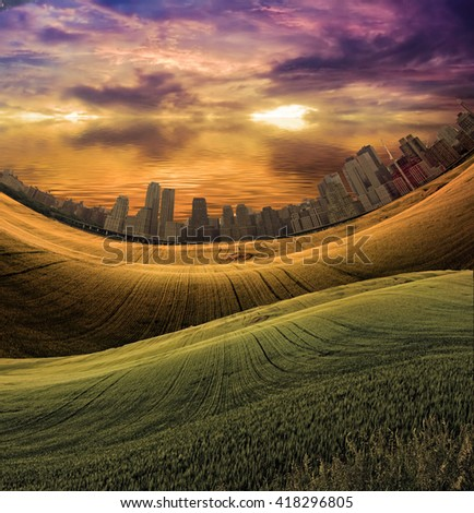 City in distance and meadow 3D Render - stock photo