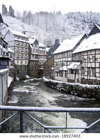 City in snow winter Monschau Germany - stock photo