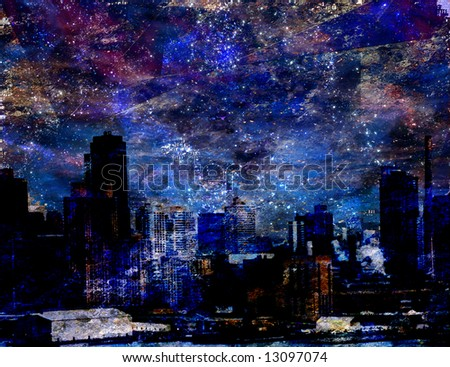 City in starlight - stock photo