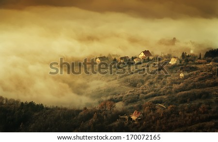City in the fog, mysterious - stock photo