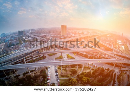 city interchange closeup at night , beautiful transport infrastructure background - stock photo