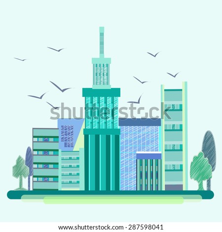 City into a flat style. Blue-green house with beautiful architecture and birds soaring in the sky. On the sides of trees.  illustration - stock photo