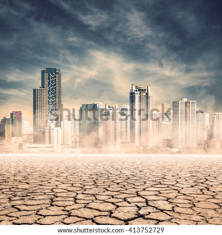 "city lack of water,expression on ""EL nino"" climate effect - stock photo"