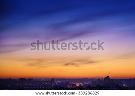 City landscape at nigh sky. - stock photo