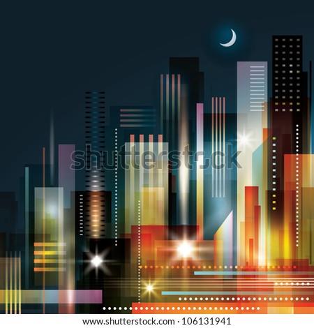 City landscape at night. Raster version - stock photo