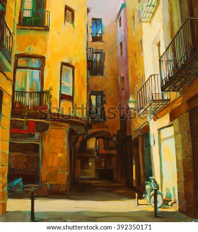 city landscape of old Barcelona, oil on canvas, illustration