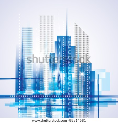 City Landscape. Raster version. - stock photo