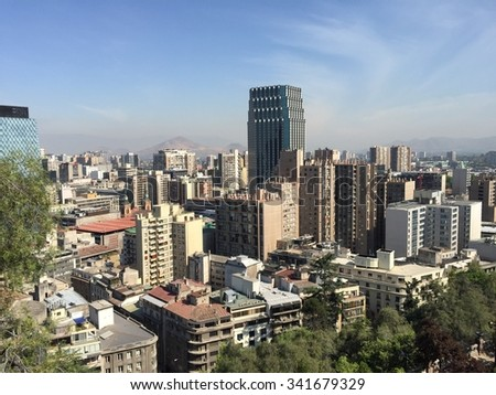 CITY LANDSCAPE, SANTIAGO, CHILE-NOV 13, 2015: Santiago is the capital of Chile. It is one of the most famous tourist destinations in Latin America. Santiago, Chile Santiago Chile Santiago Chile