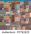 City Landscape with facade of old buildings - stock vector