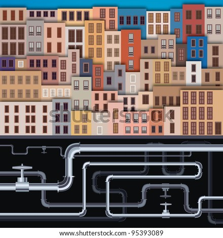 City Landscape with facade of old buildings and tubes - stock photo