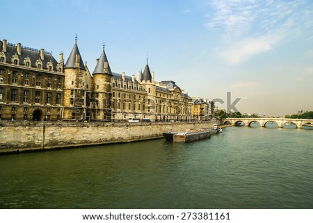 City landscape with view over the River Seine, Paris, France - stock photo