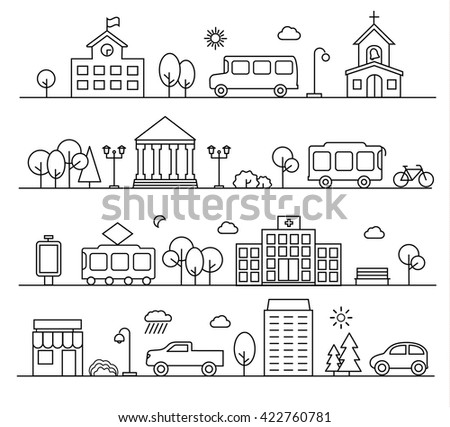 City landscapes set in linear style. With buildings, city transport, people, shop etc. - stock photo