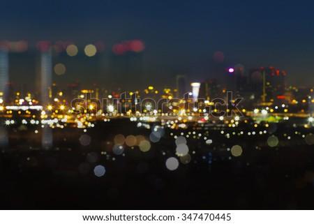 City light blur bokeh background, defocused background, Abstract lights, night city - stock photo