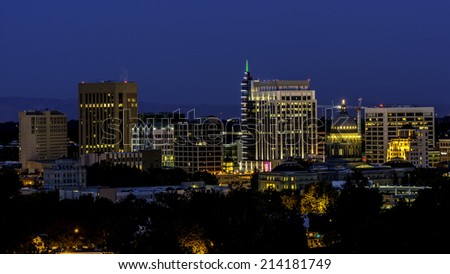 City light of Boise Idaho at night - stock photo